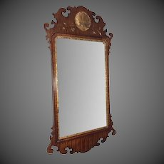 Curly Maple and Gilt Chippendale Mirror