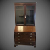 Georgian Mahogany Bookcase Secretary Desk