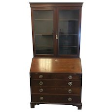 Georgian Mahogany Bookcase Secretary Desk