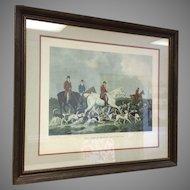 19th English Hunt Scene Lithograph