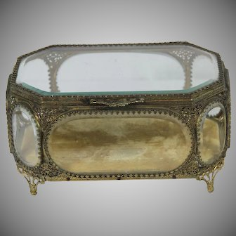 Large French Ormolu Vitrine / Trinket Box