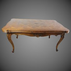 French Parquetry Draw Leaf Dining Table