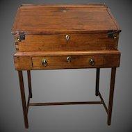 Pine Clerks or School Masters Slant lid Desk on Stand