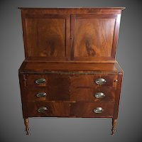 American Two Part Sheraton Bookcase Secretary