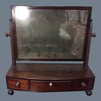 Early 19thc Mahogany Sheraton Shaving Mirror