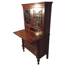 Two Piece American Bookcase Secretary