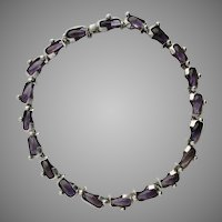 Modernist Antonio Pineda Amethyst Necklace 970 Silver Taxco Mexico