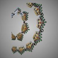 Margot de Taxco Enamel Sterling Silver Necklace Bracelet Set #5623 Green Gold & Red