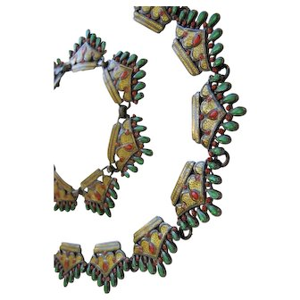 Margot de Taxco #5623 Enameled Sterling Silver Necklace and Bracelet Set Green Gold & Red