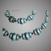 "Margot de Taxco #5835 Enameled Sterling Silver Necklace Bracelet Set  ""Semi- Precious"" Blue White"