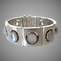 Modernist Antonio Pineda Moonstone 970 Silver Bracelet Taxco Mexico ZZ638