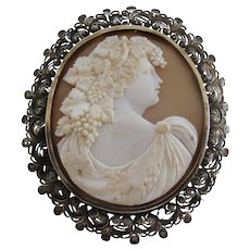 Large Antique Victorian Shell Cameo of Bacchante with Ornate Filigree Silver Frame