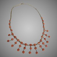 Czech Brass and Momo Coral Fringe Necklace