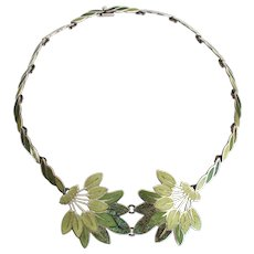 "Margot de Taxco Enamel Sterling Silver Necklace 19 inches ""Leaf Spray"" #5405"