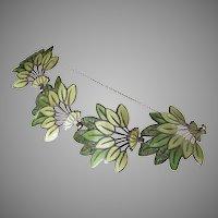 """Margot de Taxco Enamel  Sterling Silver Bracelet """"Leaf Spray"""" #5405"""