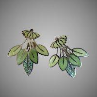"""Margot de Taxco Enamel Sterling Silver Earrings """"Leaf Spray"""" #5405"""