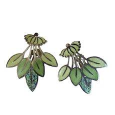 """Margot de Taxco Enamel and Sterling Silver """"Leaf Spray"""" #5405 Earrings"""