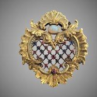 18k Gold Belle Epoche Brooch Opal Sapphire Ruby Enamel