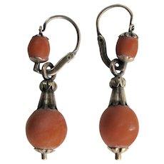 Georgian Coral Gold Dangle Earrings Day & Night
