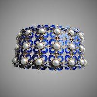 David Andersen Winnaess Quatrefoil Blue White Enamel Gilt Sterling Bracelet