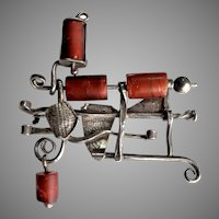 Modernist Studio Brooch Sterling Silver Glass Bead Kinetic