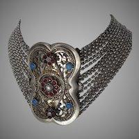 Antique Austrian 14 Row Silver Choker Necklace Kropfkette  Trachten