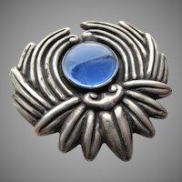 Los Castillo Large Sterling Blue Glass Brooch # 298