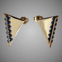 John Kennedy Designer 14k Gold Modernist Blue Cylettes Earrings