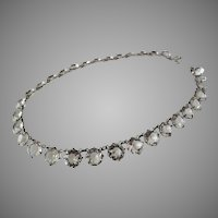 Sterling Paste Riviere Necklace Choker 15 inches long 10mm Large Faceted Crystals