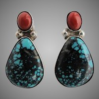 Roger Tsabetsaye Zuni Native American High Grade Spiderweb Turquoise Coral and Sterling Earrings