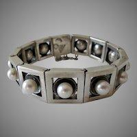 Antonio Pineda 970 Silver Pearl Bracelet Mexico Taxco