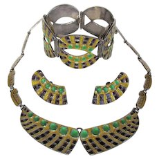 """Margot de Taxco #5603 Enameled Sterling Silver Necklace Bracelet Earrings """"Jeweled Circle and Squares"""" Purple Green Gold"""