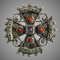 Matl Matilda Eugenia Poulat Sterling Silver Coral Turquoise Amethyst Maltese Cross Brooch Pin