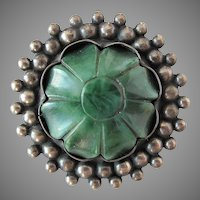 Early Large Sterling Silver Carved Green Stone Flower Mexican Silver Brooch Pin