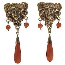 14k Gold Coral Dangle Earrings Art Nouveau Mucha Style Pierced