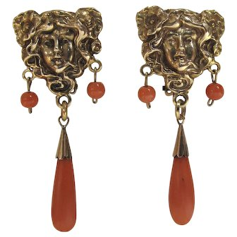 Art Nouveau Mucha Style 14k Gold and Natural Coral Dangle Earrings