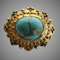 Victorian Etruscan Revival 14k Gold Turquoise Mourning Brooch Pin