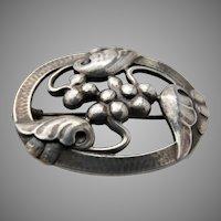 Older Georg Jensen Grapes Brooch Pin Sterling Silver #101