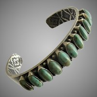Kirk Smith Navajo Sterling  Silver Green Turquoise Row Bracelet Cuff