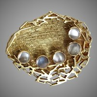 Modernist 18k Gold and Moonstone Brooch Grima Style 16.52grams 18ct 750