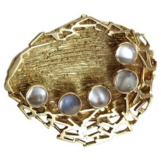Modernist 18k Gold and Moonstone Brooch Grima Style