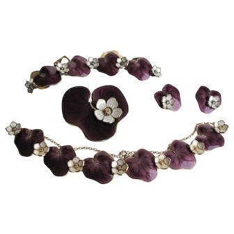 David Andersen Purple Enamel Sterling Lily Pad Necklace Bracelet Earrings Pin Parure Willy Winnaess
