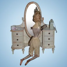 Antique Doll Country French Fashion Doll Dresser Mirror & Drawers Fancy Painted Wood Vanity
