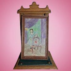 Vintage Miniature Doll Artist Framed Drawing Picture Dollhouse Primitive