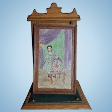 Vintage Miniature Doll Artist Framed Drawing Picture Dollhouse Primitive