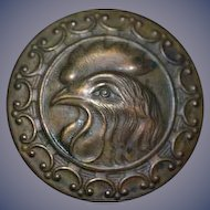 Old Large Rooster Head Button Dollhouse Wall Hanging Miniature Metal