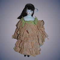 Antique Doll Miniature Bisque Doll In Original Crepe Clothing Dollhouse Cloth Body