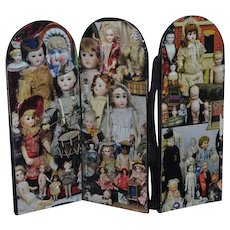 Vintage Doll Artist Made Doll Screen Antique Bisque Dolls & Kathe Kruse Decorated Miniature Dollhouse