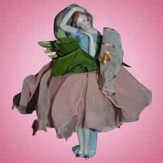 Antique Doll China Head Half Doll W/ Legs Fancy Pose Pincushion Original Clothing