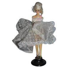 Old Fancy Wax Doll Half Doll Ballerina W/ Legs On Old Stand Boudoir